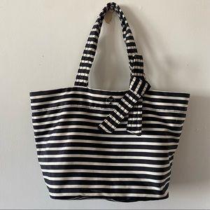 Kate Spade Flatiron Black & White Striped Tote